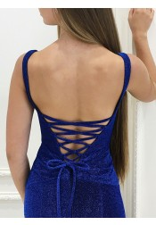 Mermaid Scoop Floor-Length Royal Blue Ruched Velvet Prom Dress