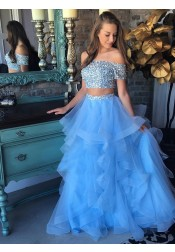 Two Piece Off-the-Shoulder Blue Tiered Tulle Prom Dress with Sequins