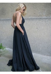 A-Line Spaghetti Straps Backless Black Taffeta Prom Dress with Pockets