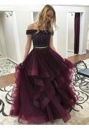 Two Piece Off-the-Shoulder Tiered Maroon Tulle Prom Dress with Beading