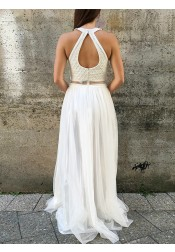 A-Line Round Neck Open Back White Prom Dress with Beading Pearls