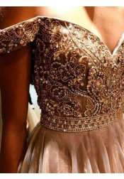 A-Line Off-the-Shoulder Blush Tulle Prom Dress with Beading