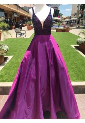 A-Line V-Neck Sweep Train Fuchsia Satin Prom Dress with Beading Pockets