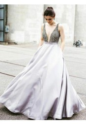 A-Line Deep V-Neck Light Gray Satin Prom Dress with Beading Pockets