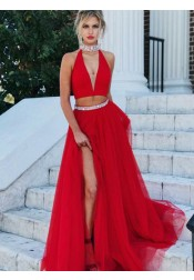 Two Piece Halter Low Cut Red Tulle Prom Dress with Beading Split