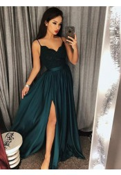 A-Line Spaghetti Straps Dark Green Elastic Satin Prom Dress with Lace