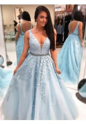 A-Line V-Neck Light Blue Tulle Prom Dress with Appliques Beading