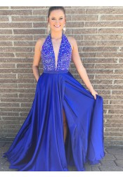 A-Line V-Neck Royal Blue Elastic Satin Prom Dress with Beading Split