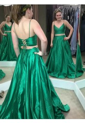 Two Piece Spaghetti Straps Green Satin Prom Dress with Pleats