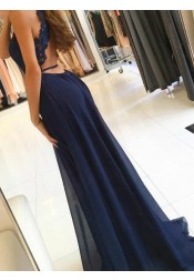 A-Line Round Neck Navy Blue Chiffon Prom Dress with Lace Split