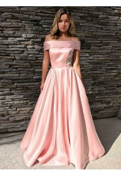 A-Line Off-the-Shoulder Sweep Train Pink Satin Prom Dress with Pockets