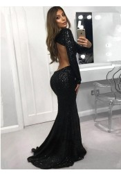 Mermaid Bateau Long Sleeves Black Sequined Evening Prom Dress