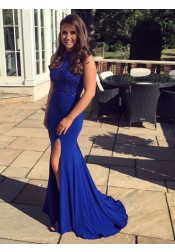 Mermaid Round Neck Royal Blue Spandex Prom Dress with Beading Split