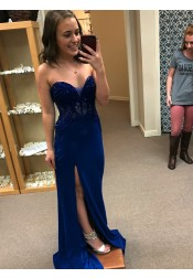 Sheath Sweetheart Blue Elastic Satin Prom Dress with Sequins