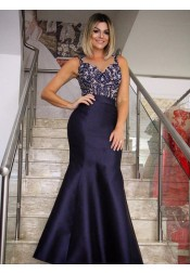Mermaid Round Neck Navy Blue Satin Prom Dress with Beading Appliques