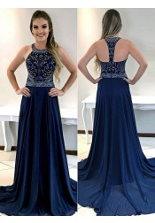 A-Line Round Neck Navy Blue Chiffon Prom Dress with Beading