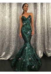 Mermaid Sweetheart Sweep Train Green Sequined Prom Dress