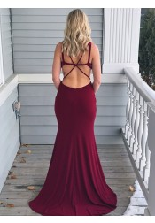Mermaid V-Neck Open Back Cut Out Dark Red Prom Dress