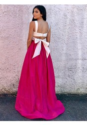 Two Piece Scoop Fuchsia Satin Prom Dress with Bowknot