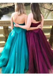 A-Line Sweetheart Sweep Train Turquoise Tulle Prom Dress
