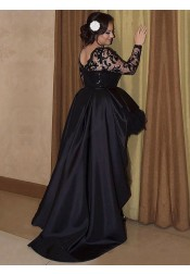 A-Line Round Neck High Low Black Satin Plus Size Prom Dress with Lace Sequins
