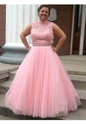 A-Line High Neck Open Back Pink Tulle Plus Size Prom Dress with Lace Beading