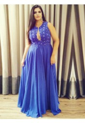 A-Line Round Neck Blue Chiffon Plus Size Prom Dress with Lace Keyhole