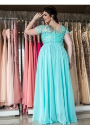 A-Line V-Neck Turquoise Chiffon Plus Size Prom Dress with Appliques