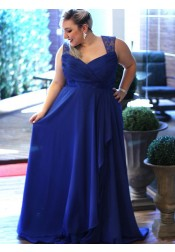 A-Line Square Neck Open Back Blue Chiffon Plus Size Prom Dress with Lace