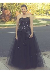 A-Line Sweetheart Black Tulle Plus Size Tulle Prom Dress with Beading