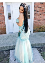 Mermaid Sweetheart Turquoise Tulle Plus Size Prom Dress with Lace