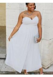 A-Line Sweetheart Pleated Light Grey Chiffon Plus Size Prom Dress