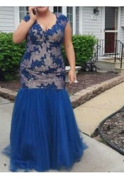 Mermaid Scoop Blue Tulle Plus Size Prom Dress with Lace