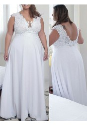 A-Line V-Neck White Chiffon Plus Size Prom Dress with Lace