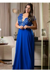 A-Line V-Neck Blue Chiffon Plus Size Dress with Appliques Beading