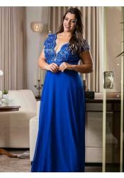 A-Line V-Neck Blue Chiffon Plus Size Dress with Appliques Beading