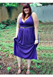 A-Line V-Neck Purple Elastic Satin Plus Size Prom Dress with Beading