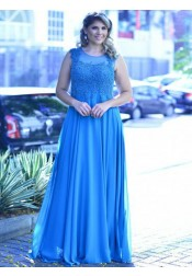 A-Line Round Neck Sleeveless Blue Chiffon Plus Size Prom Dress with Lace