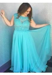 A-Line Bateau Mint Plus Size Prom Dress with Appliques Beading