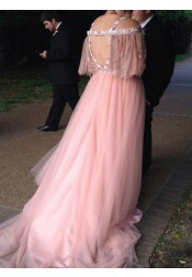 A-Line V-Neck Coral Tulle Plus Size Prom Dress with Lace Beading