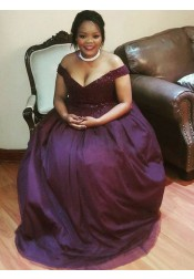 A-Line off-the-Shoulder Grape Tulle Plus Size Prom Dress with Beading