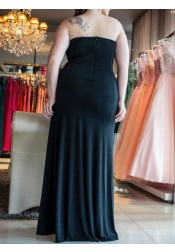 Mermaid Sweetheart Ruched Black Lace Chiffon Plus Size Prom Dress with Appliques