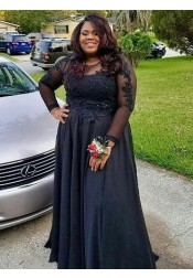 A-Line Round Neck Black Chiffon Plus Size Prom Dress with Appliques Beading