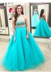 A-Line Round Neck Turquoise Tulle Plus Size Prom Dress with Beading