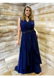 A-Line V-Neck Dark Blue Chiffon Plus Size Prom Dress with Appliques Beading