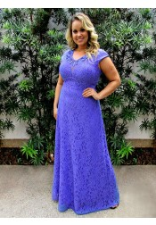 A-Line Scoop Sweep Train Purple Lace Plus Size Prom Dress with Appliques