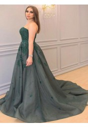 A-Line Strapless Court Train Green Tulle Plus Size Prom Dress with Appliques