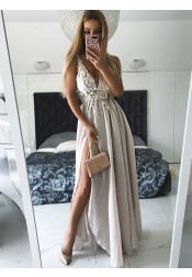 A-Line V-Neck Grey Chiffon Prom Dress with Appliques Split