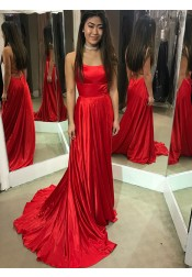 A-Line Spaghetti Straps Red Satin Prom Dress with Split