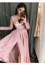 A-Line V-Neck Blush Satin Prom Dress with Appliques Split